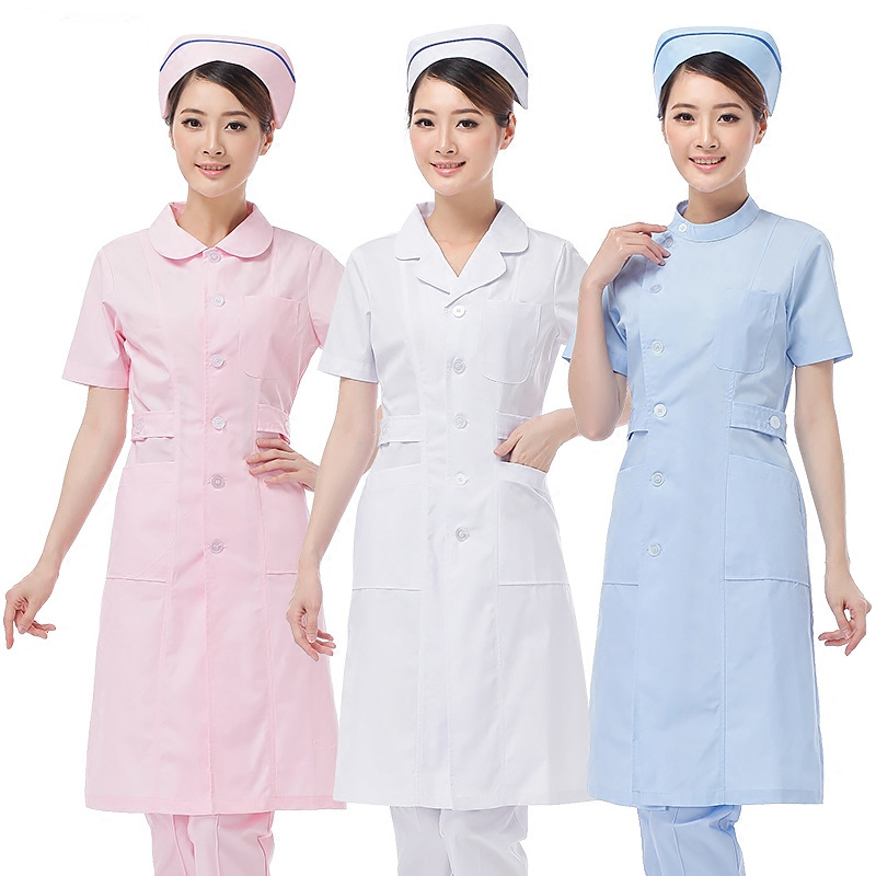 Summer Madam White Lab Coat Short Sleeve Pockets Uniform Work Wear Doctor Nurse Clothing Dropshipping