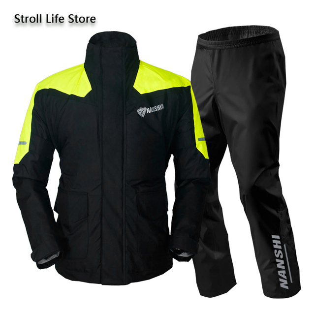 Double Layer Waterproof Rain Coat Pants Set Breathable Reflective Motorcycle Raincoat Riding Men and Women Split Thick Gift 2