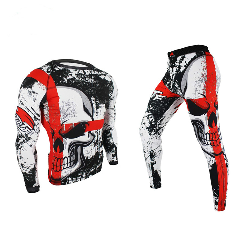 FDBRO Boxing Set Compression Jersey+Pants Skull Rashguard KickBoxing Tight Long T-Shirts Trousers Muay Thai MMA Fightwear