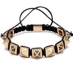 Mcllroy/браслет в виде пирамиды, с квадратными бусинами, для мужчин и женщин