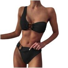 Ingaga片方の肩ビキニ女性の水着水着セクシーなリングbiquini黒リブビーチウェア2021ブラジルビキニ