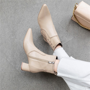 Image 5 - FEDONAS Quality Genuine Leather Women Ankle Boots Classic Pointed Toe Chelsea Boots Party Shoes Woman Elegant Office Prom Shoes