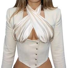 Женские футболки с длинным рукавом Корсет Топ короткими рукавами