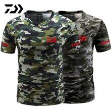 Летняя камуфляжная футболка Daiwa с v-образным вырезом для рыбалки, спортивная одежда, дышащая быстросохнущая одежда для рыбалки