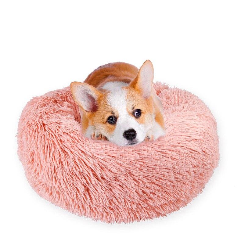 Теплая Флисовая кровать для собак, круглая подушка для шезлонга для маленьких, средних, больших собак, кошек, зимних собак, питомников, щенков, коврик для питомцев
