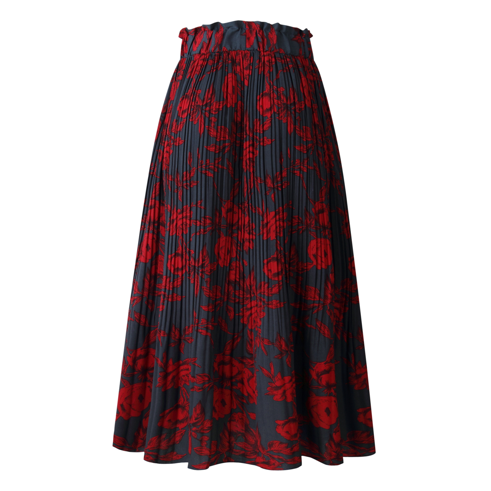 H2137262f7cf64b638eff55f34502115b0 - Summer Casual Chiffon Print Pockets High Waist Pleated Maxi Skirt Womens Long Skirts For Women