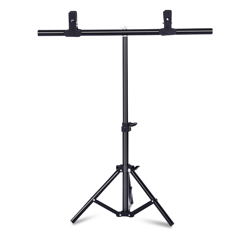 T-Shape Portable Background Backdrop Support Stand Kit Tall Adjustable Photo Backdrop Stand With Spring Clamps
