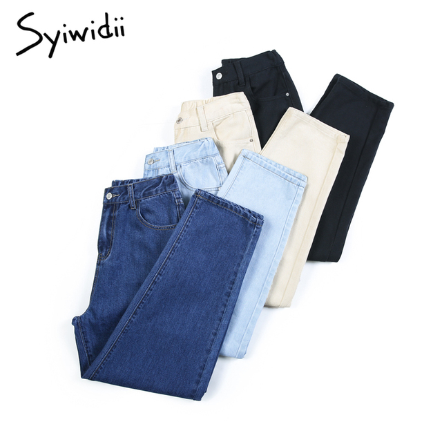 elastic waist black jeans korean fashion   2