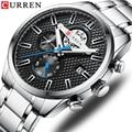 CURREN 2019 новые мужские часы  модные часы для мужчин  кварцевые наручные часы  спортивные часы с хронографом  сетчатые стальные часы  relojes hombre
