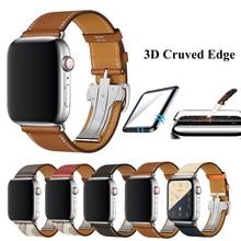 Correa de cuero para Apple Watch, correa de piel auténtica con hebilla de una sola vuelta para Apple Watch 5 4 3 2 1, 44mm y 40mm