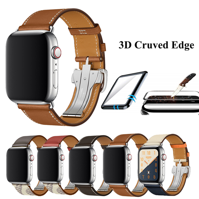 For Apple Watch Band Genuine Leather Single Tour Deployment Buckle for Apple Watch 5 4 3 2 1 Leather Strap for iWatch 44mm 40mm
