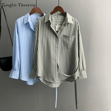 Fashion Stripe Blouses Women 2019 Fall Ladies Tops High Street Office Lady Loose Elegant Mujer Long Sleeve Womens
