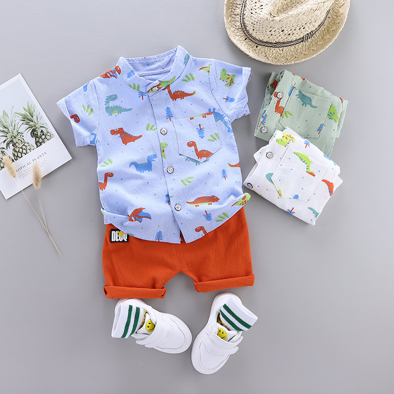 2020 Summer Kids Set Set Baby Clothing Set For Boys Cute Casual Clothes Set Dinosaur Top Shorts Infant Suits Kids Clothes
