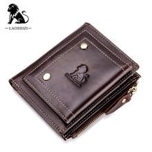 LAOSHIZI Brand Genuine Leather Pocket Wallet Men Credit ID Cardholder Card Case Coin Bag Men's Dollar Purse RFID Zipper