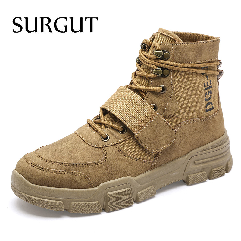 SURGUT Men Boots High Quality Brand Military Leather Boots Autumn Winter Desert Combat Men Casual Boots Outdoor Shoes Ankle Boot