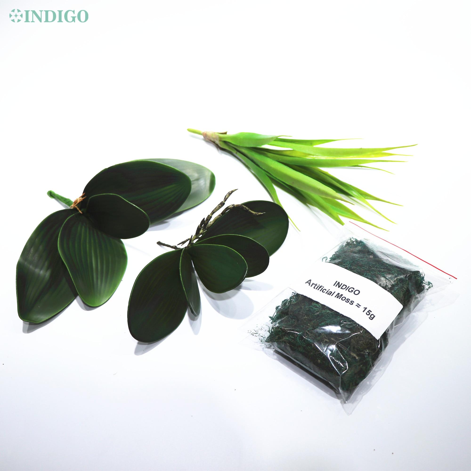 Листья листьев орхидеи Индиго на ощупь, аксессуар для организации цветов, украшение из Моха, фаленопсис, бабочки, орхидеи, листья
