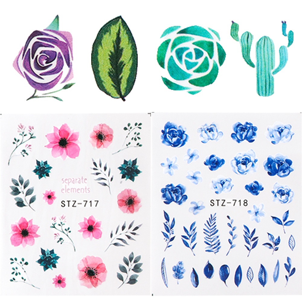 New Style Manicure Watermarking Adhesive Paper 24 Single Model Flower World Series Flower Stickers Nail Watercolor Rose STZ707-7
