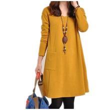 Женское свободное платье свитшот с длинным рукавом и карманами