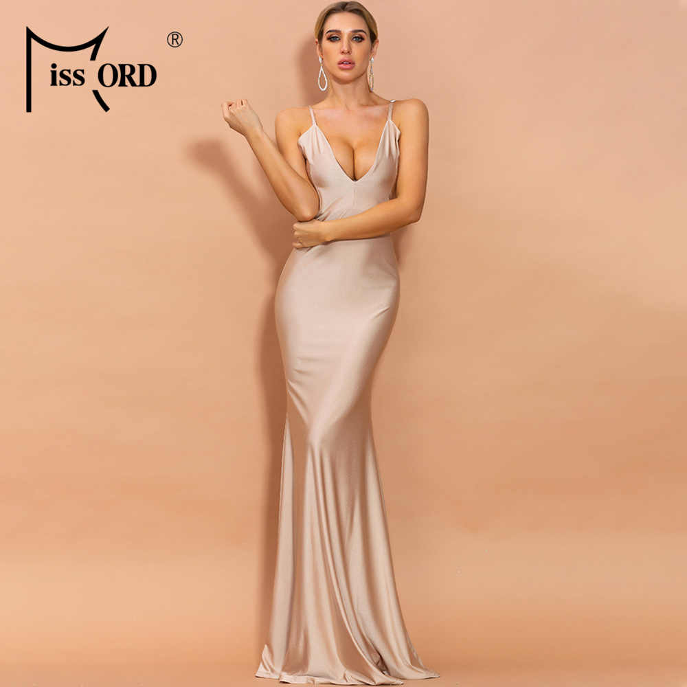 For Women Wedding Ladies Cocktail Dress Deep V-Neck Formal Party Solid Bodycon