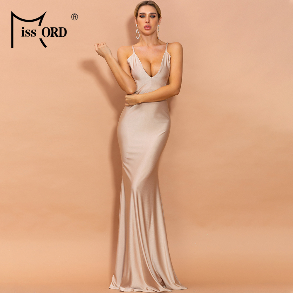 Missord 2020 Spring Summer Sexy Deep V Neck Bodycon Women Maxi Dresses Solid Color Backless Female Party Dresses FT18320