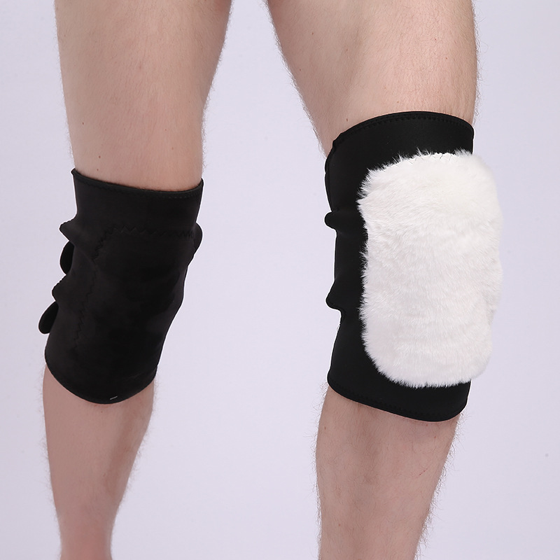 Autumn Winter Men And Women Rex Rabbit Hair Velvet Thick Knee Sleeve Warmth Cold-proof Kneepad Leg Protector B472