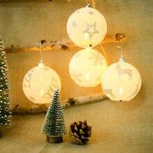 Рождество Романтический светодиодный светящиеся шары Снежинка Лось звезда печати украшения для рождественской елки украшения Рождественские вечерние наружный Декор