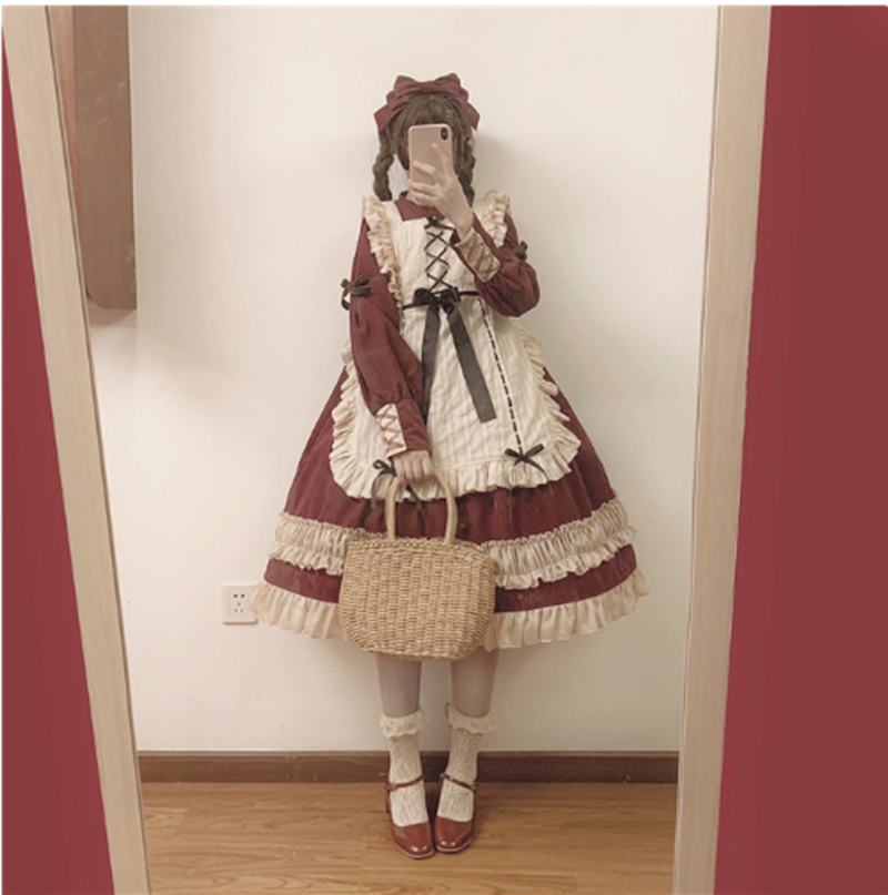 Sweet Victoria Lolita Dress Vintage Victorian Dress Bowknot Long Sleeve College Students Lolita Dress with Headwear and Apron