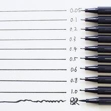 Pigmento forro pigma micron caneta marcador de tinta 0.05 0.1 0.2 0.3 0.4 0.5 0.6 ponta diferente preto fineliner esboçar canetas arte suprimentos