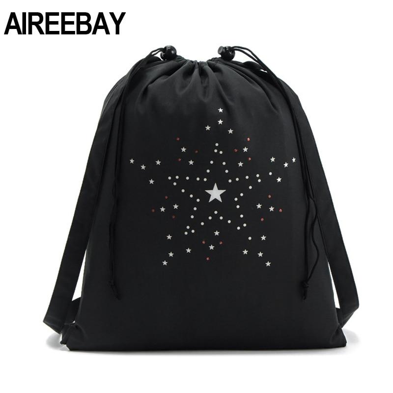 Aireebay Printed Drawstring Backpack For Teenager Men Drawstring Bag Packing Cubes Large Capacity Drawstring Bags For Women