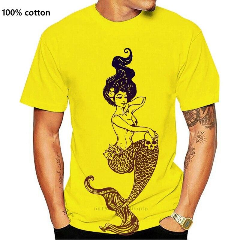 Schöne Meerjungfrau Mit Schädel T & shy;-Hemd 100% Baumwolle Unisex Frauen Druck T Shirt