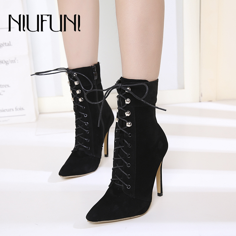 Купить с кэшбэком NIUFUNI Punk Women Ankle Strap Boots Rivet Zip Stiletto Lace Up Pointed Toe High Heels Black Chelsea Boots 12CM Shoes For Women