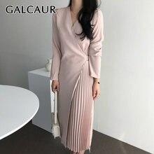 Женское платье с рюшами galcaur розовое Элегантное повседневное