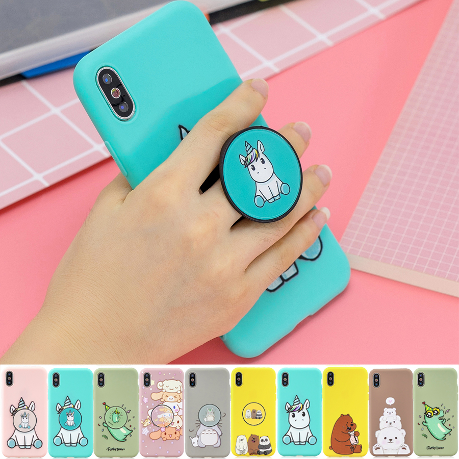 <font><b>3D</b></font> Cartoon <font><b>Silicone</b></font> holder <font><b>case</b></font> for <font><b>iPhone</b></font> 11 Pro Max 2019 <font><b>X</b></font> XR XS Max <font><b>case</b></font> for <font><b>iPhone</b></font> 7 8 5 5S 6 6S Plus soft stand phone cover image