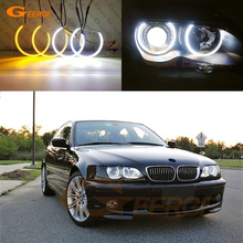 цена на For BMW E46 Non projector Excellent Ultrabright Dual Color Switchback smd LED Angel Eyes Halo Rings kit