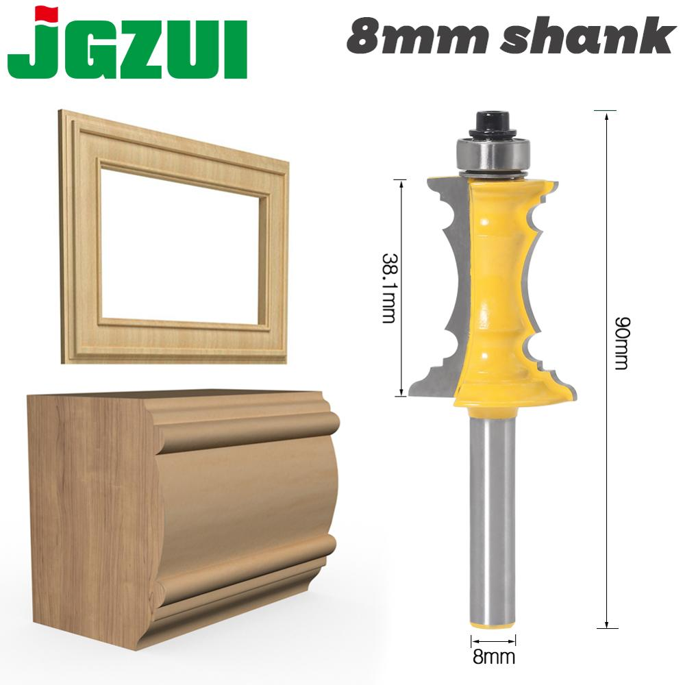 """JGZUI 1pc 8mm Shank 1-1/2"""" Miter Frame Molding Router Bit Line Knife Door Knife Tenon Cutter For Woodworking Tools"""