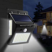 Luminária led noturna 100 35 20, para jardim, com sensor de movimento pir + luz solar com sensor de luz, lâmpada de parede iluminação externa