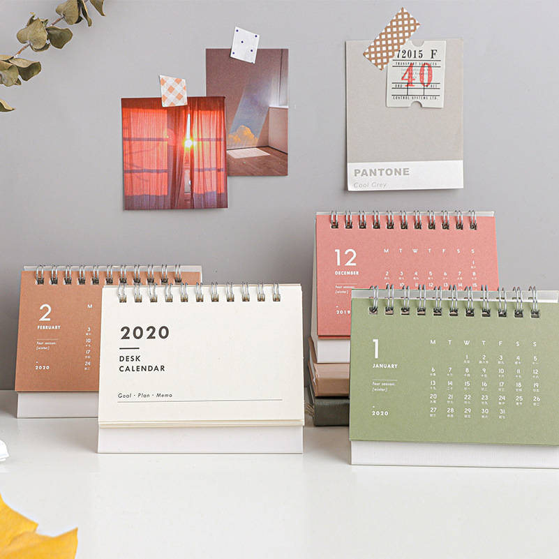 2020 NEW Kawaii Cute Mini Small Solid Color Calendar Coil Schedule Creative Desk Table Dates Reminder Timetable Planner Sl2219