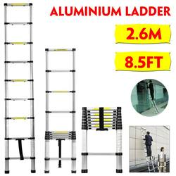 Escalera retráctil plegable de 2,6 m/8,5 pies, escalera de espiga de aluminio, Extension telescópica de paso, escaleras industriales telescópicas