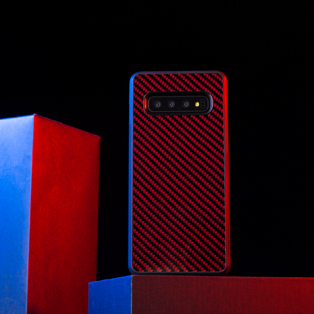 For <font><b>Samsung</b></font> Galaxy S10 S10 Plus <font><b>Case</b></font> Back Cover Real Red Carbon Fiber for <font><b>Samsung</b></font> <font><b>S10e</b></font> Antislip TPU PC <font><b>Case</b></font> - Full Protection image
