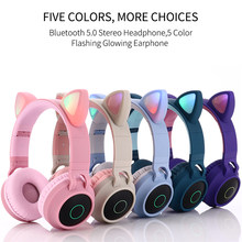 Cute Cat Ear Headset LED Wireless Bluetooth Headphones with Mic Glowing Earphones for Children Gifts daughters girls