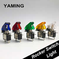 Rocker Switch LED Automobile Modification Arm Push Button Protection Cover 12V 20A For Racing Car Light Toggle Control ON-OFF