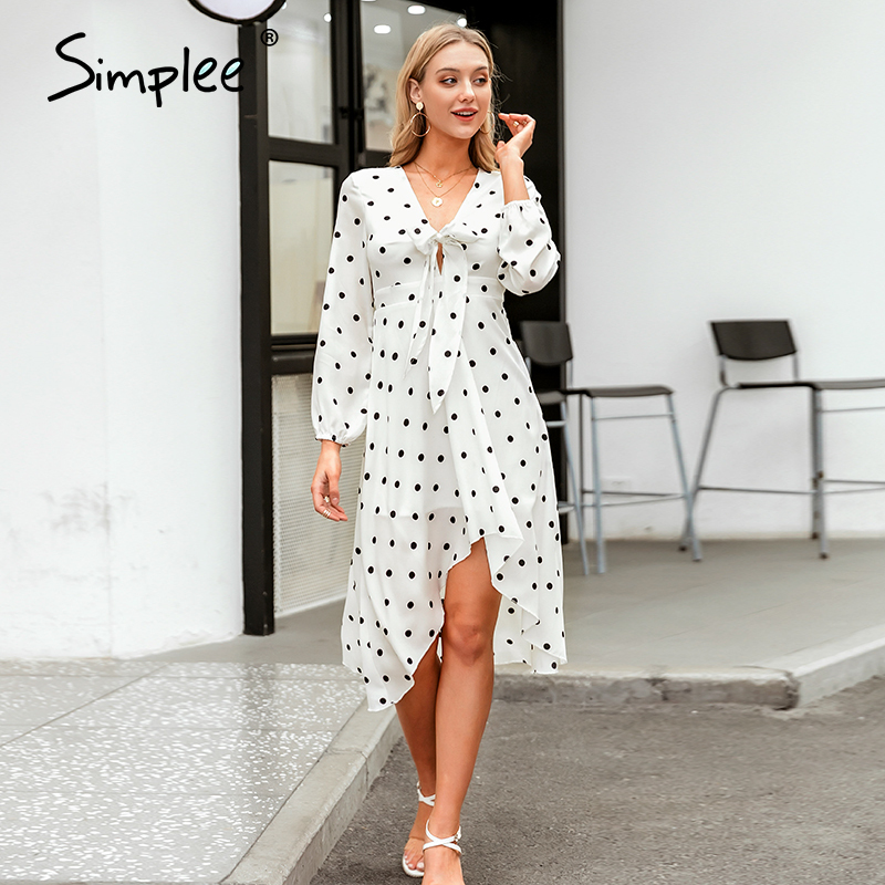 Simplee Sexy V-neck Polka Dot Women Party Dress Elegant Half Sleeve Bow-knot Midi Flowy Sundress Ladies Holiday Daily Midi Dress
