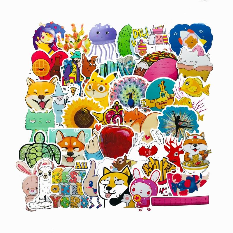 40PCS Cute Animal Children Cartoon Sticker For Laptop Moto Skateboard Luggage Refrigerator Notebook Case Toy Stickers F5