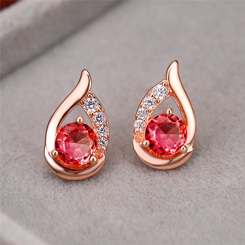 Charm Female Rainbow Crystal Small Earrings Classic Round Ziecon Stud Earrings Rose Gold Silver Color Wedding Earrings For Women