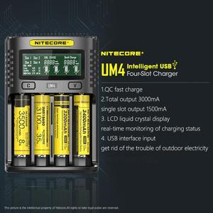 Image 3 - Nitecore cargador inteligente UM4 con cuatro ranuras USB, circuito de control de calidad, seguro Global, cargador li ion AA 18650 14500 16340 26650
