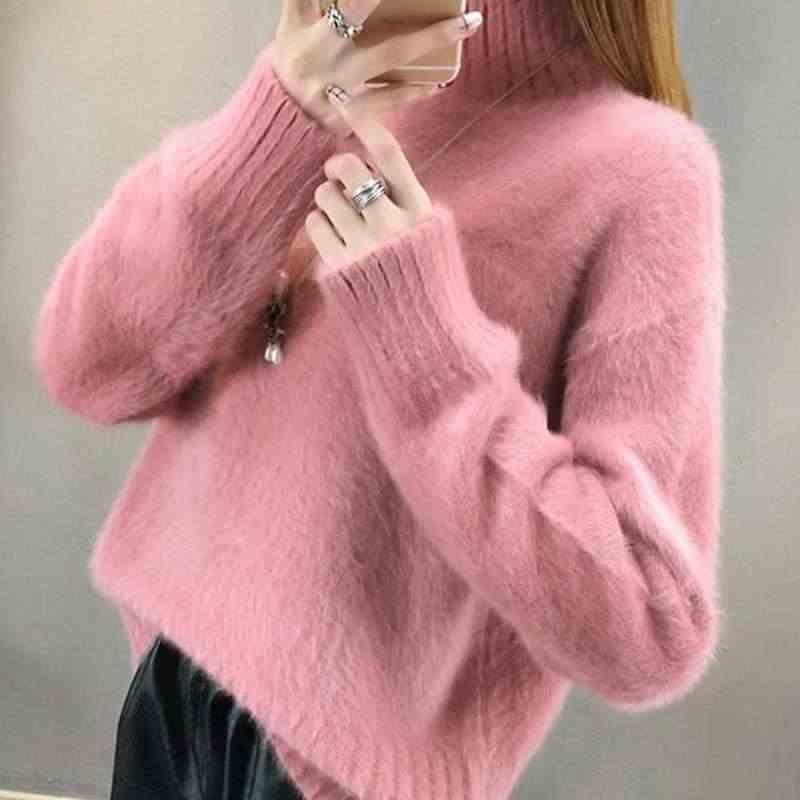 스웨터 여성 터틀넥 풀오버 점퍼 새로운 느슨한 풀오버 머리 편안한 스웨터 여성 의류 vestidos lxj9006