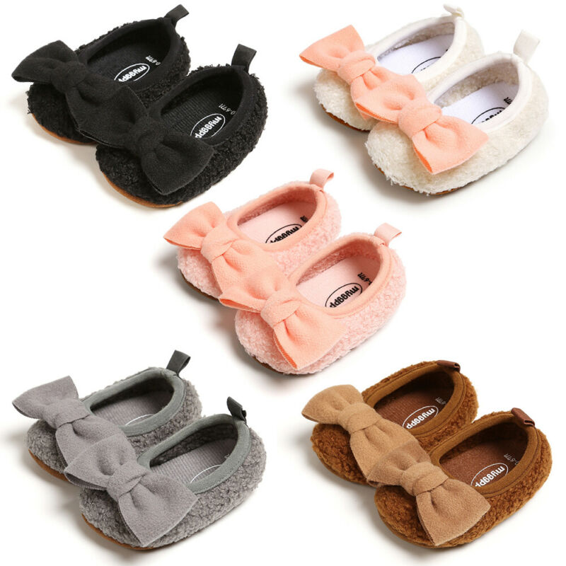 0-18M Infant Newborn Baby Girls Shoes Warm Plush Bow Baby Girl First Walkers Cute Princess Shoes Autumn Winter