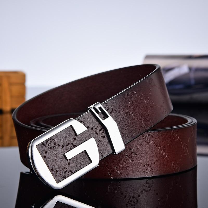 Aoluolan High Quality Smooth button buckle g letter designer belts men Genuine leather  Waist Strap white ceinture homme