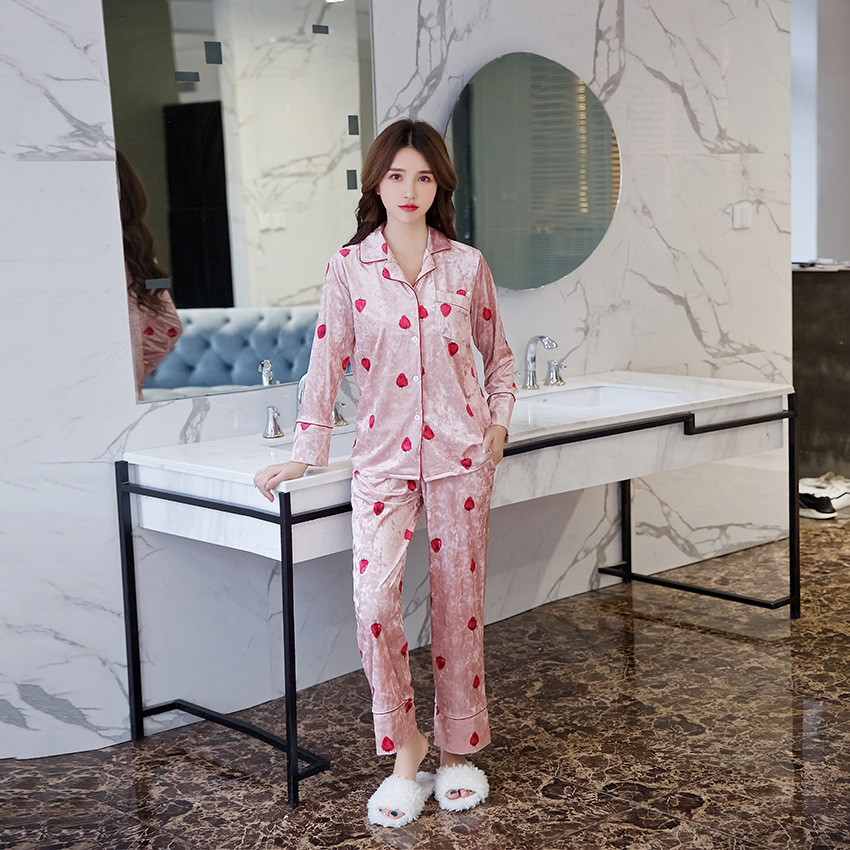 Women Print Flower Pajamas Suit Soft Sleepwear Velour Nightwear 2PCS Shirt&Pants Casual Button Sleep Set Full Sleeve Negligee