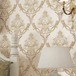 Европейский стиль Дамаск обои 3D рельеф спальня прикроватная гостиничная гостиная диван Настенные обои